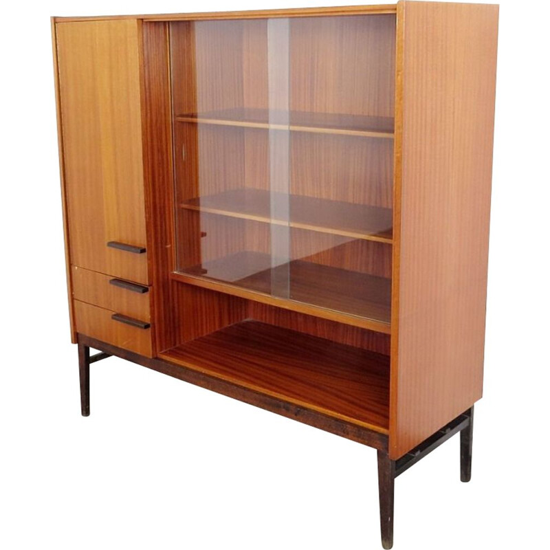 Vintage glass and wood bookcase by Frantisek Mezulanik, 1960s