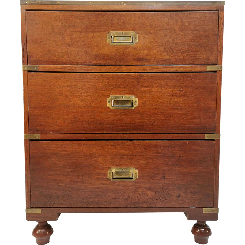 Vintage mahogany and brass chest of drawers, 1930s