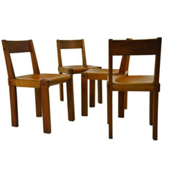 Set of 4 chairs in elm and leather, Pierre CHAPO - 1960s