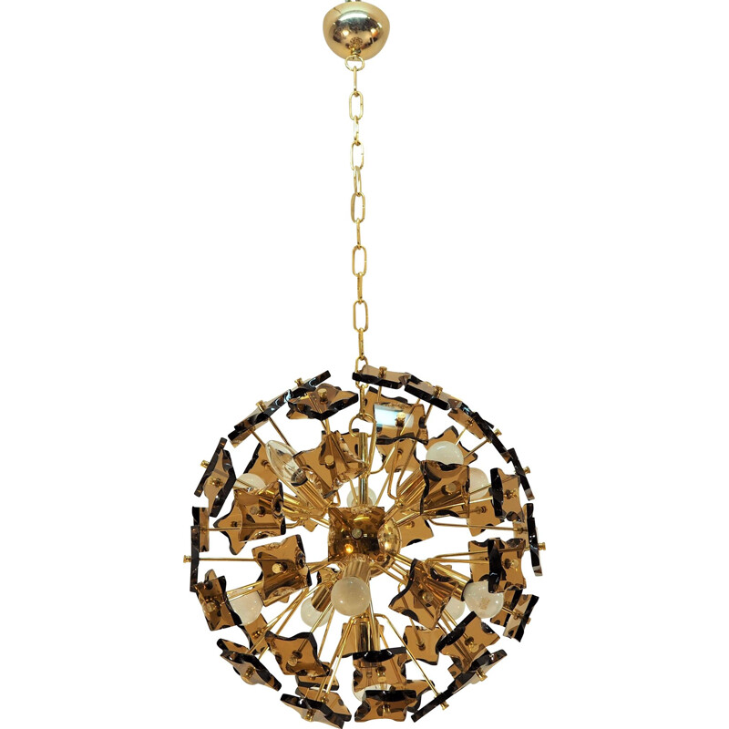 Brass and glass vintage Sputnik pendant light, 1970s