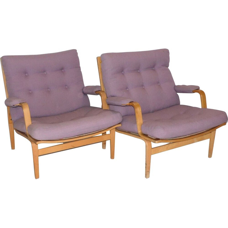 """Pair of vintage armchairs """"Ingrid"""" by Bruno Mathsson edition Dux 1980"""