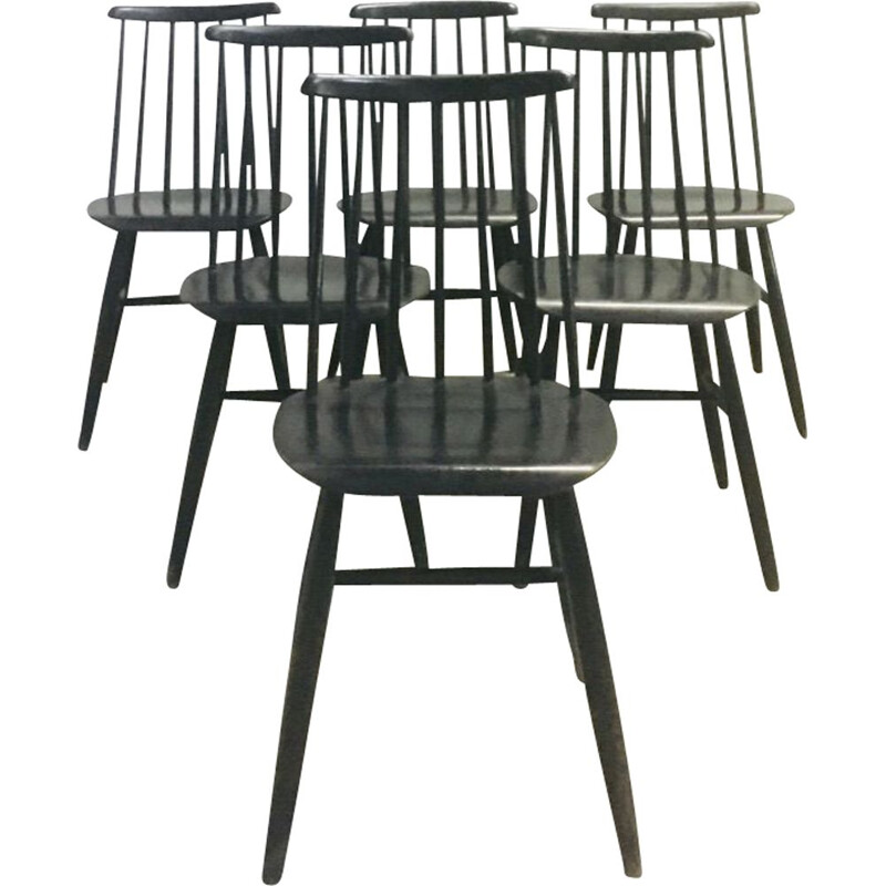 "Set of 6 vintage chairs ""Fanett"" by Ilmari Tapiovaara 1960"
