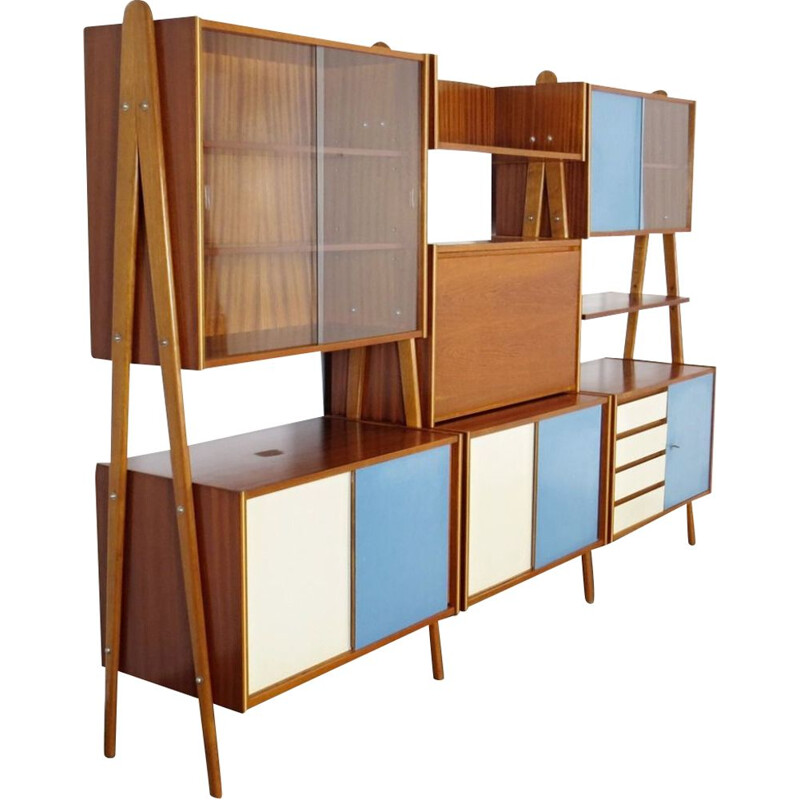 Vintage shelves in wood and glass Czechoslovakia 1960
