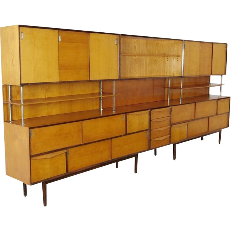 Vintage shelves in wood Czechoslovakia 1960