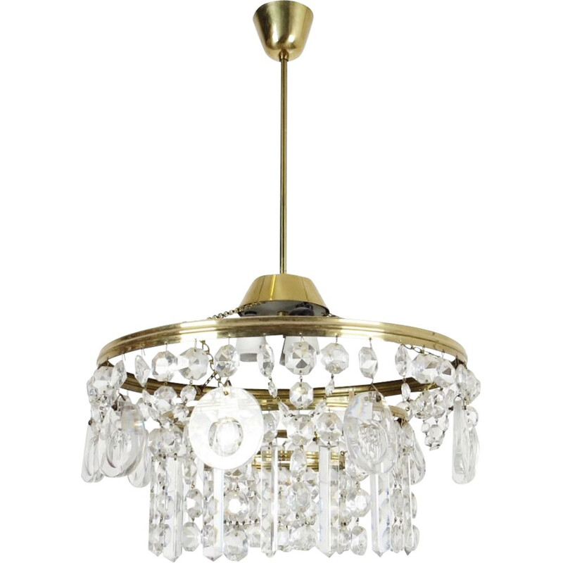 Vintage glass and steel chandelier, 1970s