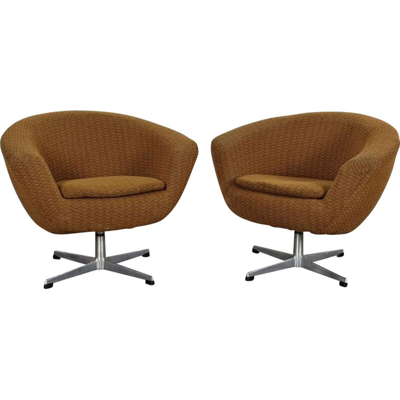 Set of 2 vintage brown armchairs by UP Zavody, 1970s