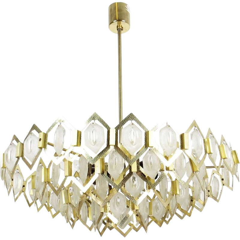 Vintage steel and glass chandelier by Kamenicky Senov, 1970s