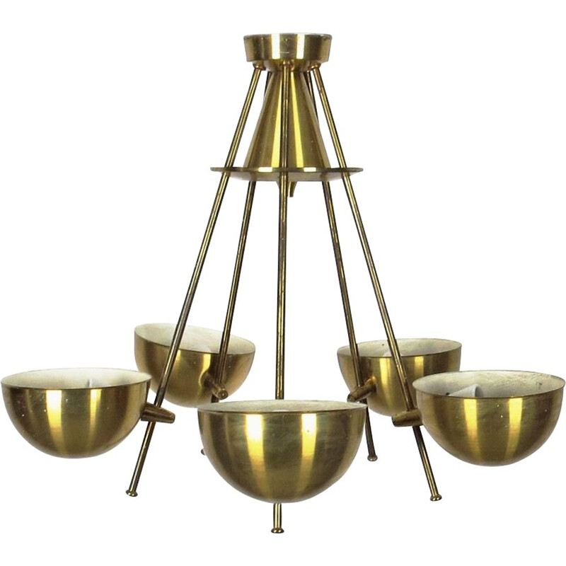 Vintage gold steel chandelier, 1970s