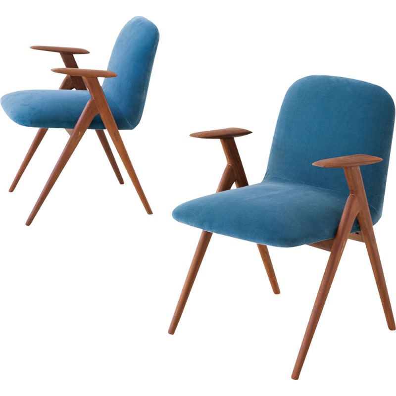 Set of 2 vintage blue velvet and teak armchairs, 1950s