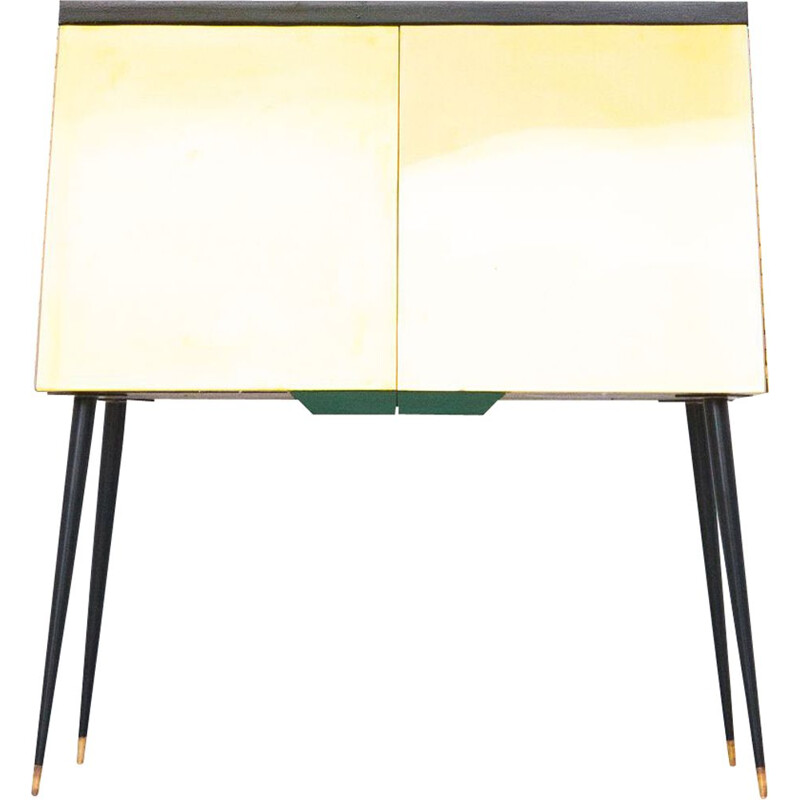 Vintage black lacquered wood brass and iron console, 1950s