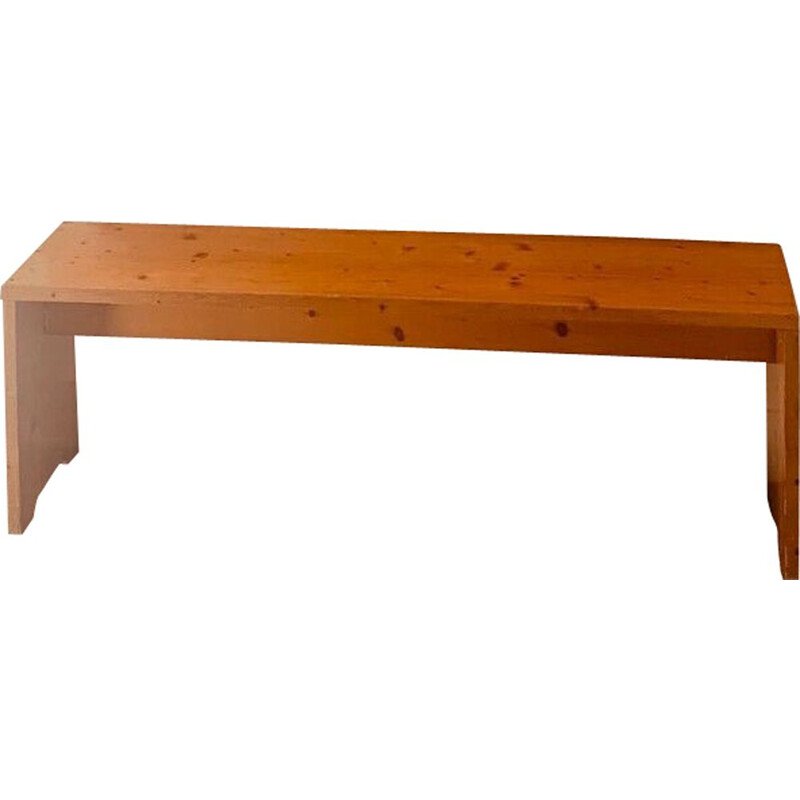 Vintage pine bench by Charlotte Perriand, Les Arcs, 1970s