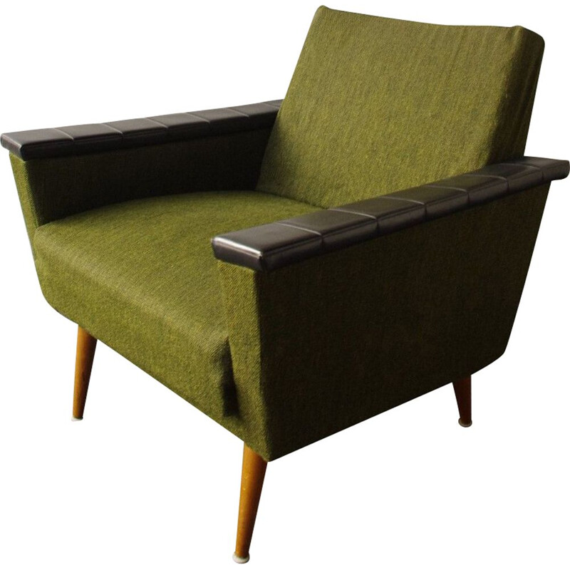 Vintage green wooden and fabric armchair, 1960s