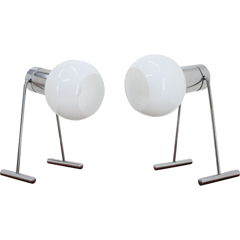 Pair of chrome vintage table lamps, 1960s