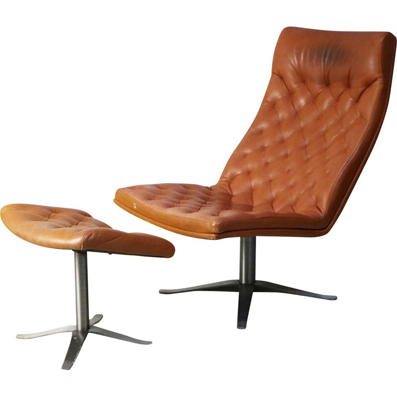 Danish leather vintage armchair and footstool, 1970s