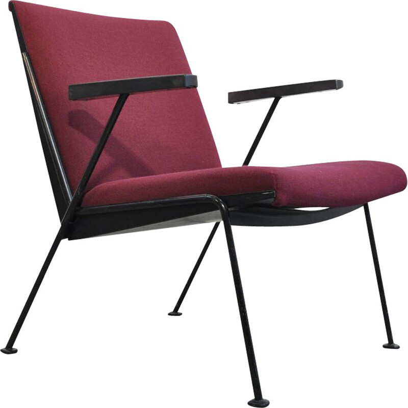 Dutch purple vintage armchair by Wim Rietveld for Ahrend De Cirkel, 1950s