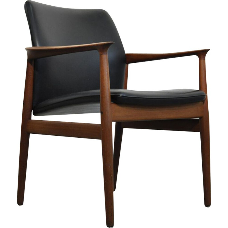Danish teak and black leather vintage armchair by Grete Jalk for Glostrup Mobelfabrik, 1960s