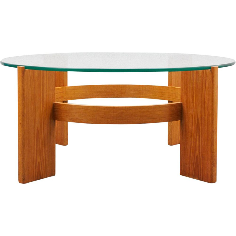 Vintage teak & glass coffee table 1970