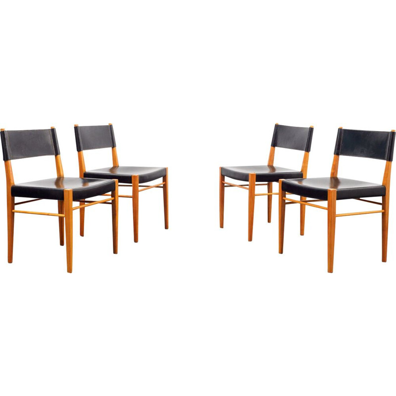Set of four vintage dining chairs, cherrywood and leather 1960