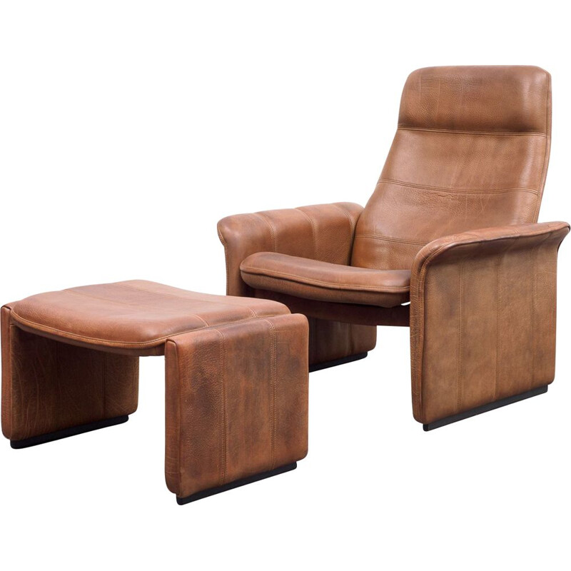 Vintage leather lounge chair with foot stool, De Sede, model DS 50 1970