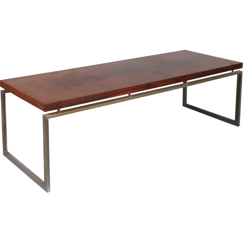 Vintage rectangular rosewood coffee table Netherlands 1960