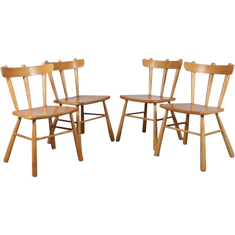 Set of 4 vintage Beech dining chairs, Sweden 1960