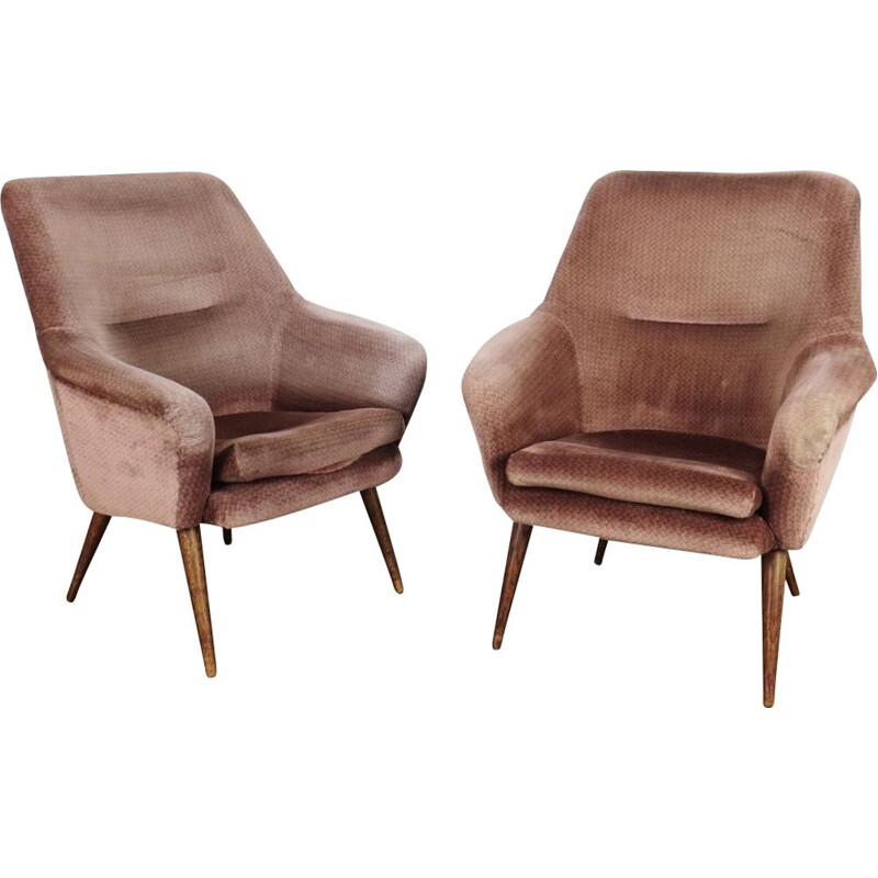 Vintage pair of pink armchairs, Czechoslovakia, 1970