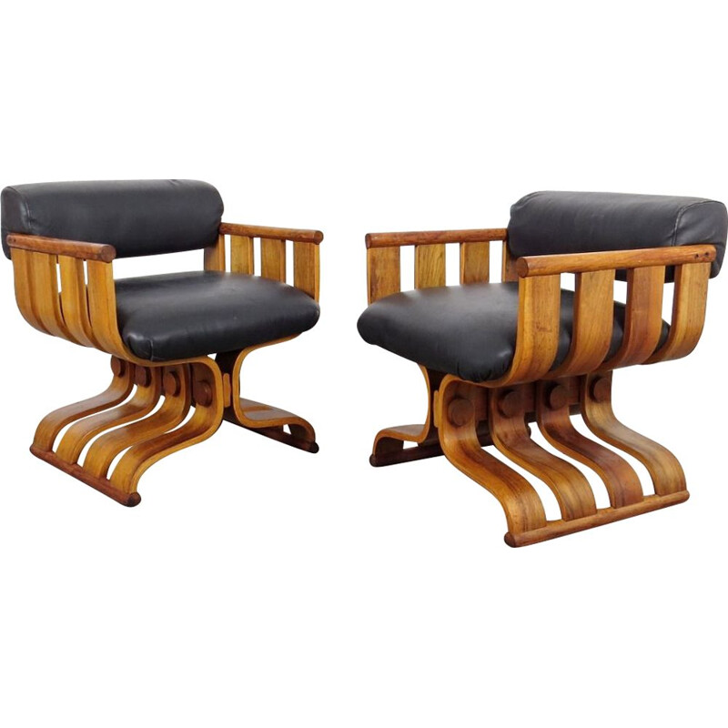 Pair of armchairs from Hotel Intercontinental by Dřevopodnik Holesov, 1970