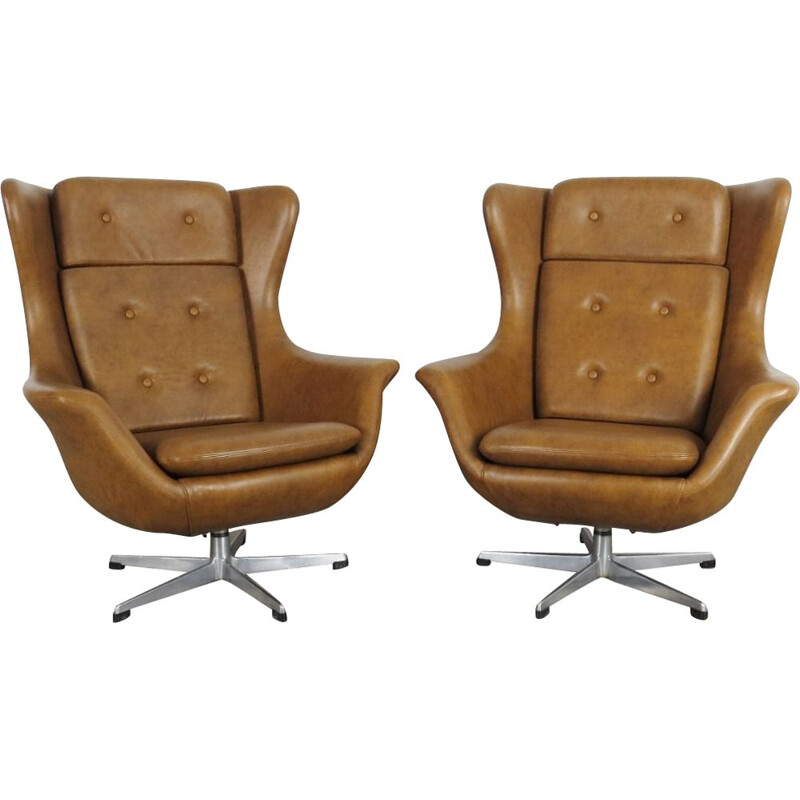 Pair of brown armchairs by UP závody, 1970