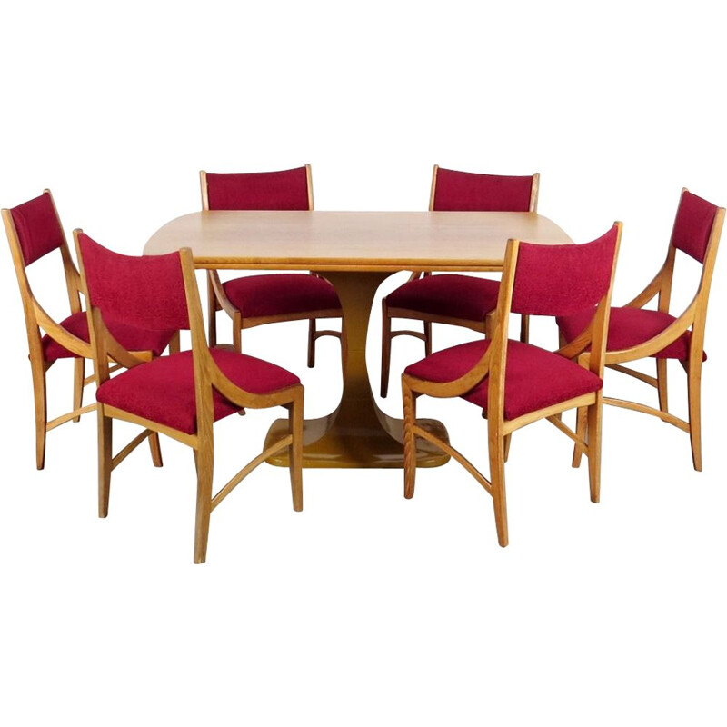 Vintage red dining set by Drevotvar Jablonne nad Orlici, 1970