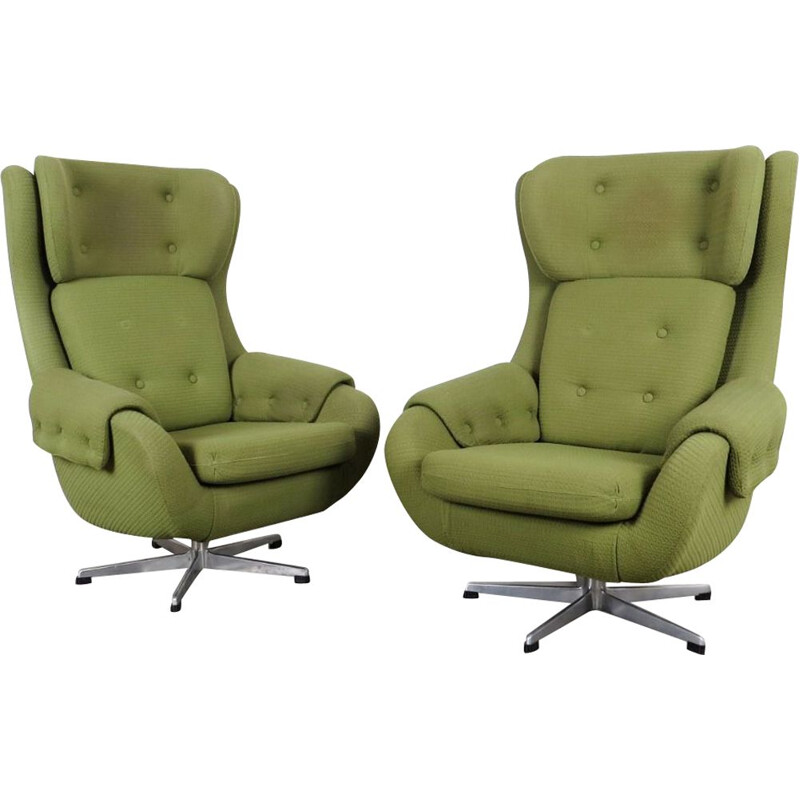Pair of vintage green armchairs by UP závody, 1970