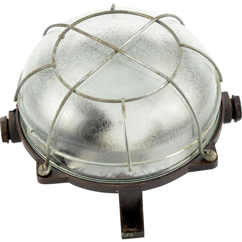 Vintage ebonite wall lamp IP54 in industrial style, Czechoslovakia, 1950s