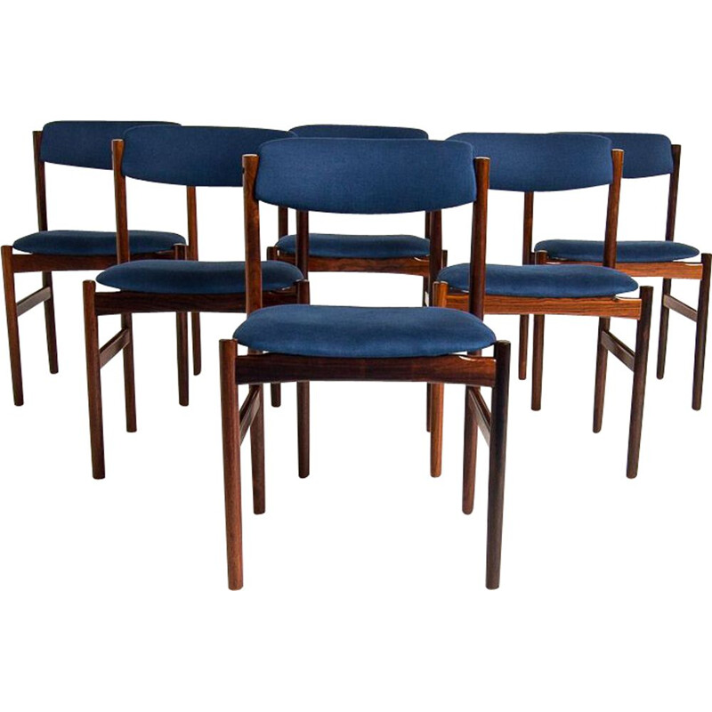 Set of 6 vintage dining chairs in rosewood and blue linen, 1960s