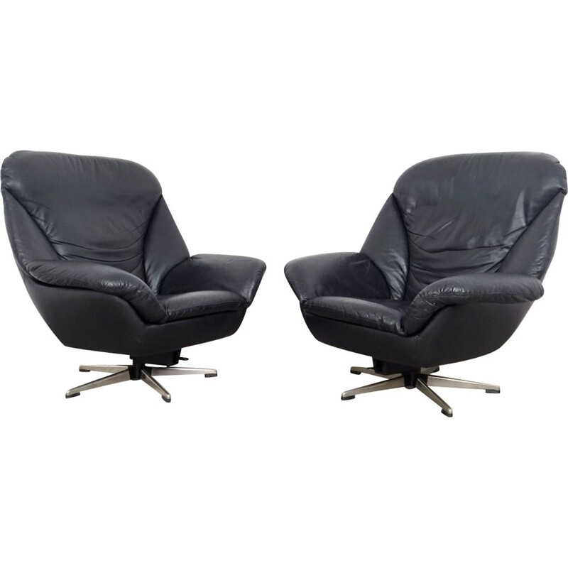 Pair of vintage black leather armchairs by Peem, 1970