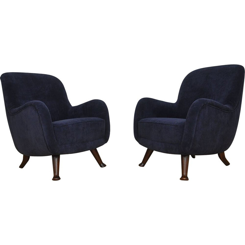 Pair of vintage Scandinavian armchairs by Berga Möbler, 1940s