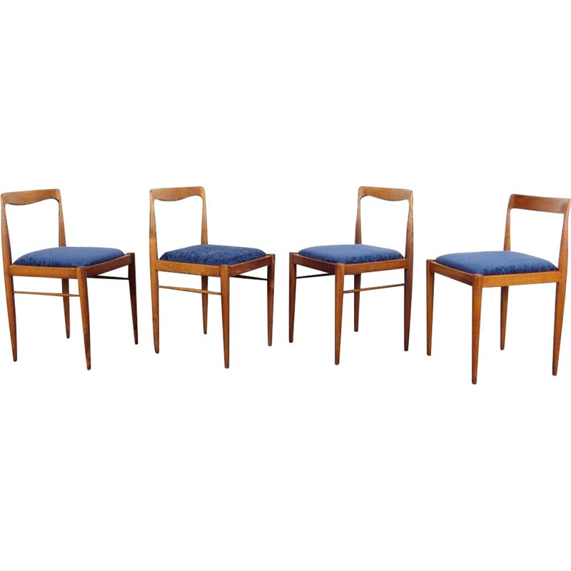 Set of 4 vintage blue dining chairs by Drevotvar Jablonne nad Orlici, 1970