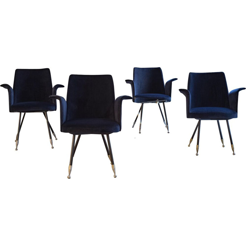 Set of 4 vintage armchairs in blue velvet, Italy, 1950