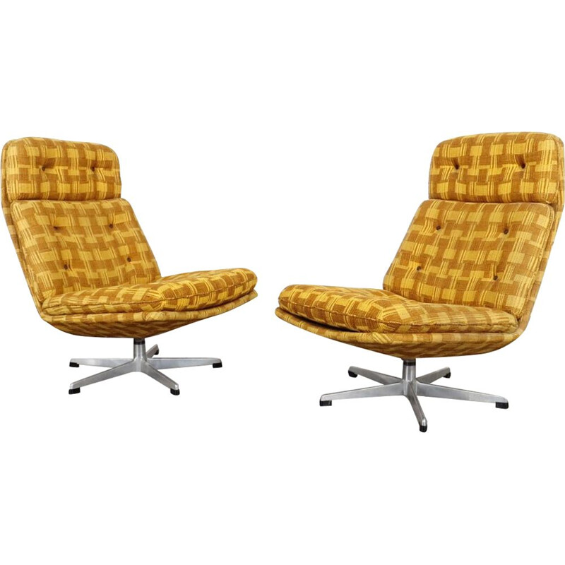 Pair of vintage yellow armchairs by Gerald Neusser, 1970
