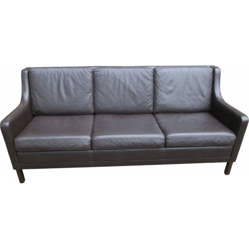 Vintage Danish dark brown leather 3-seater sofa, 1960s