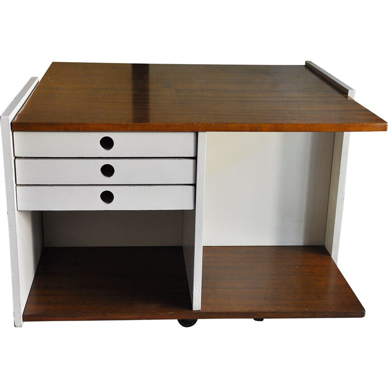 Vintage coffe table with drawers and wheels, 1970