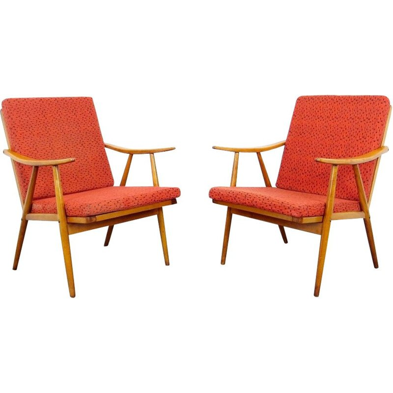 Pair of vintage red armchairs by Ton, 1970