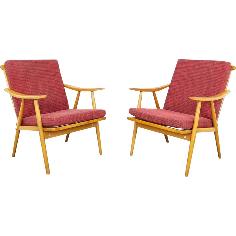 Pair of red vintage armchairs by Ton, 1970