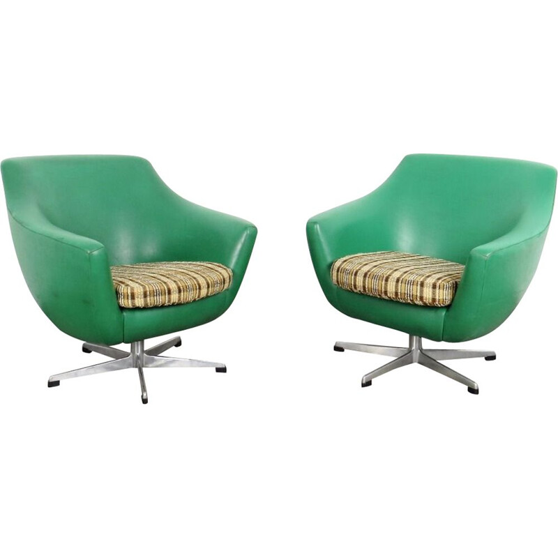 Pair of 2 vintage green armchairs by UP zavody, 1970
