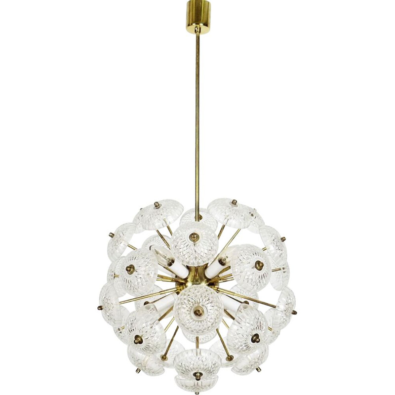 Vintage glass chandelier by Kamenicky Senov, Czechoslovakia, 1970