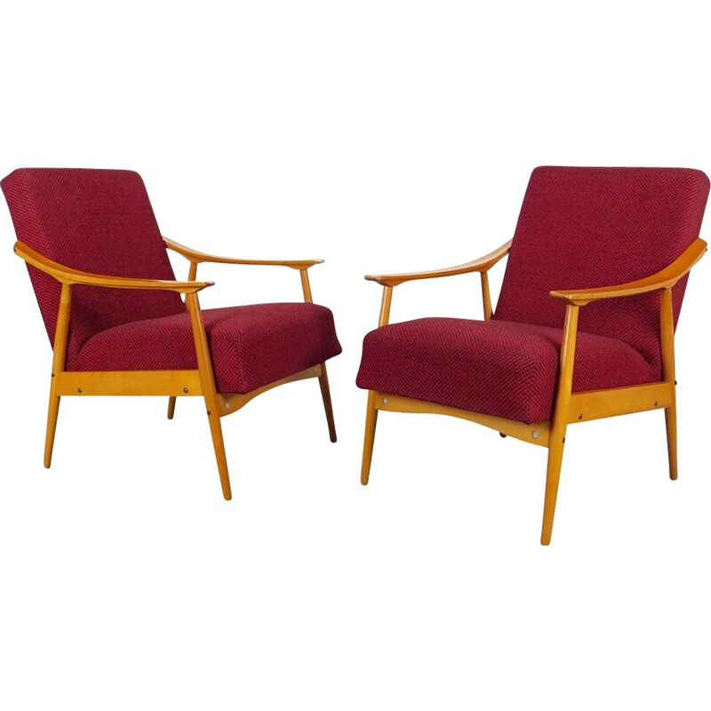 Pair of red vintage armchairs, 1970s