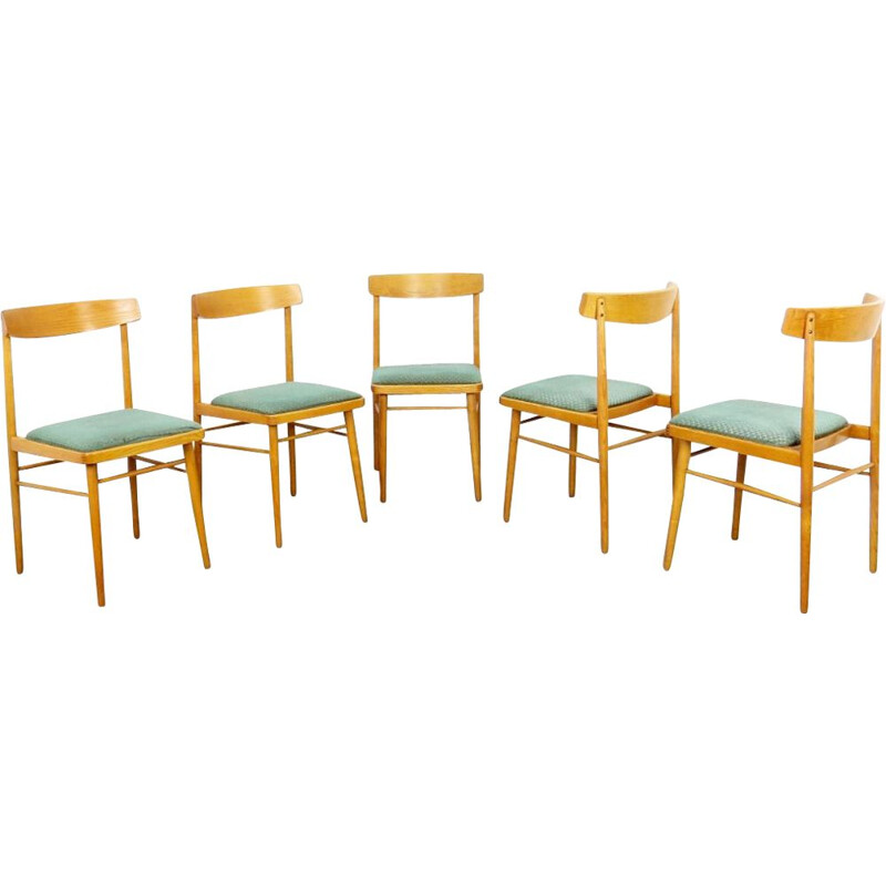Set of 5 vintage dining chairs, Czechoslovakia, 1970s