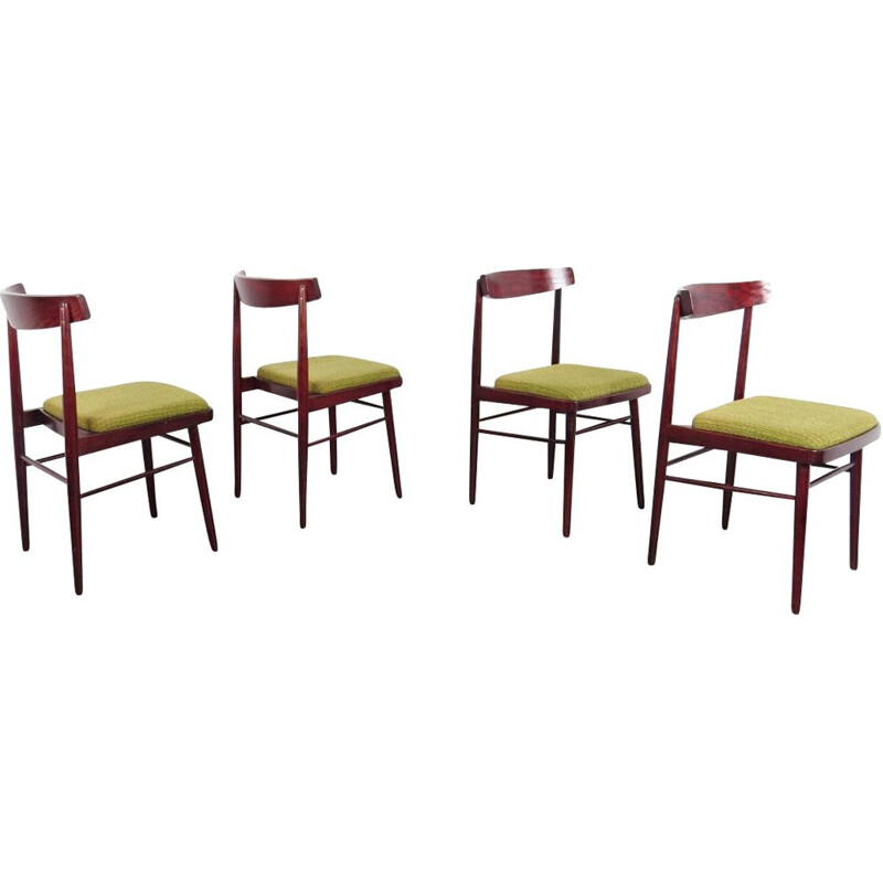 Set of 4 vintage dining chairs, Czechoslovakia, 1970s