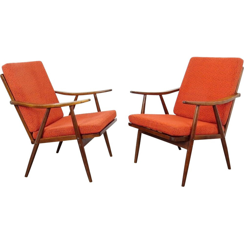 Pair of orange vintage armchairs by TON, 1970s