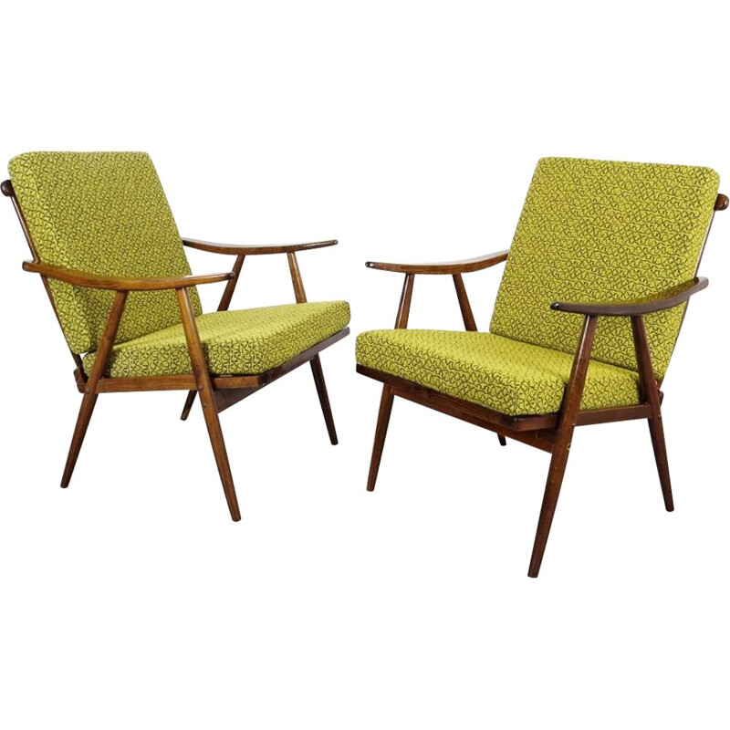 Pair of 2 green vintage armchairs by Ton, 1970s
