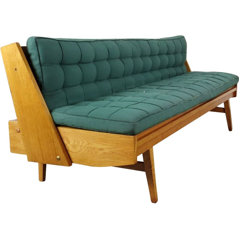 Blue vintage 3-seater sofa, 1970s