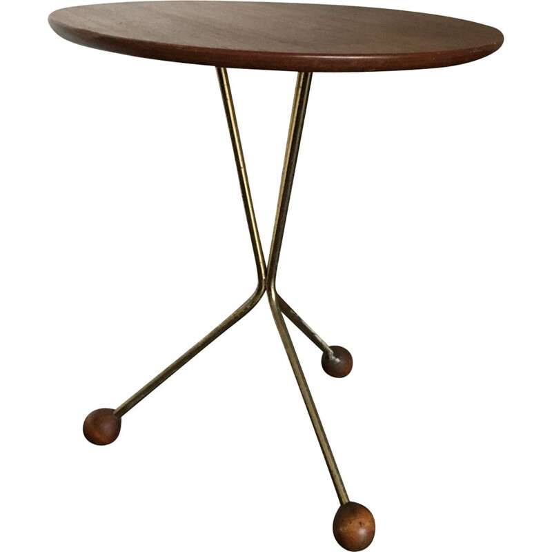 Vintage Scandinavian Brass And Teak Side Table for Albert Larsson for Tibro, 1950s